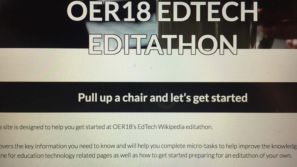 OER18 The EdTech Wikipedia edit-a-thon